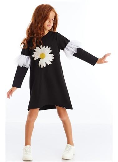 Colorinas PapatyaBaskılıTütülü Elbise Siyah   Renkli